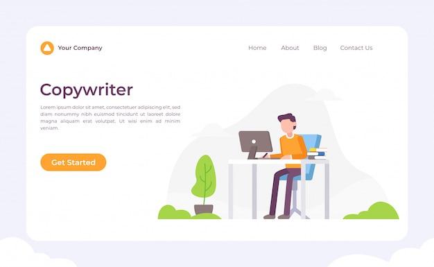 Pagina di destinazione del copywriter Vettore Premium