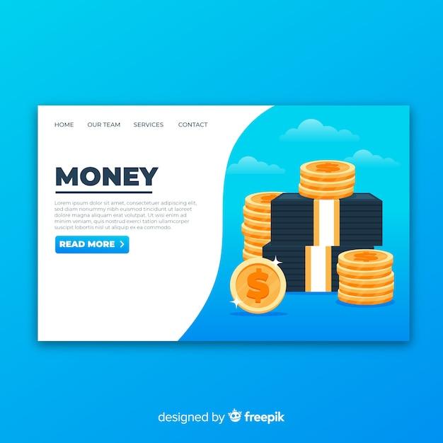 Pagina di destinazione del denaro Vettore gratuito
