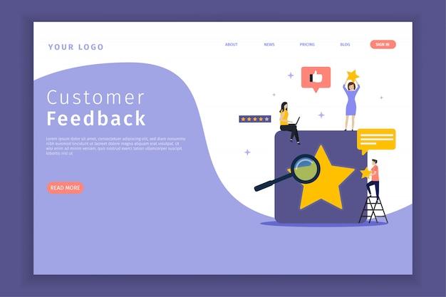 Pagina di destinazione del feedback dei clienti per il sito. Vettore Premium