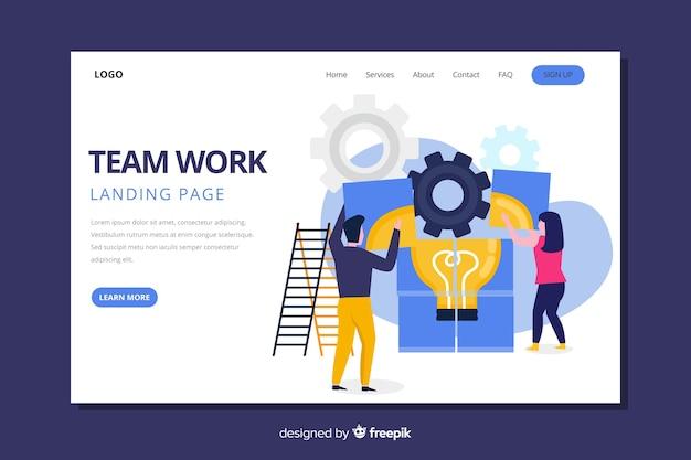Pagina di destinazione del lavoro di squadra con i colleghi che fanno un puzzle Vettore gratuito