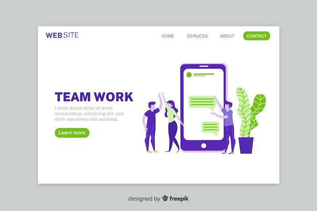 Pagina di destinazione del lavoro di squadra con telefono design piatto colorato e personaggi Vettore gratuito