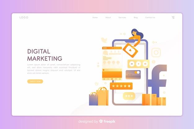 Pagina di destinazione del marketing digitale Vettore gratuito