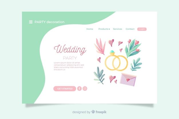 Pagina di destinazione del matrimonio con elementi incantevoli Vettore gratuito