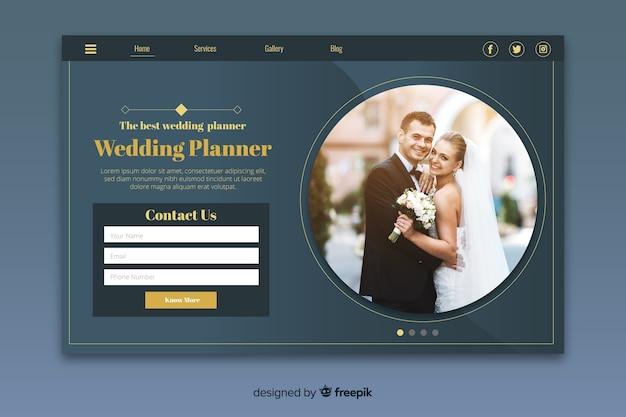 Pagina di destinazione del matrimonio con foto Vettore gratuito