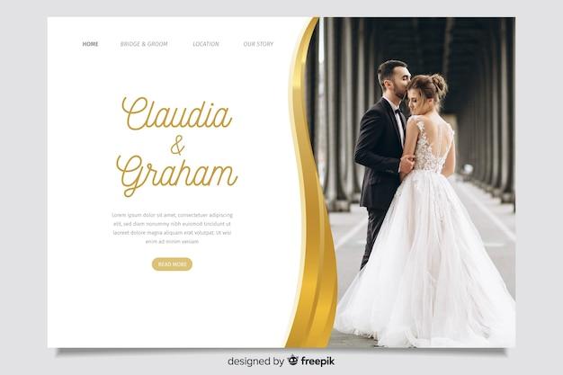 Pagina di destinazione del matrimonio con immagine Vettore gratuito