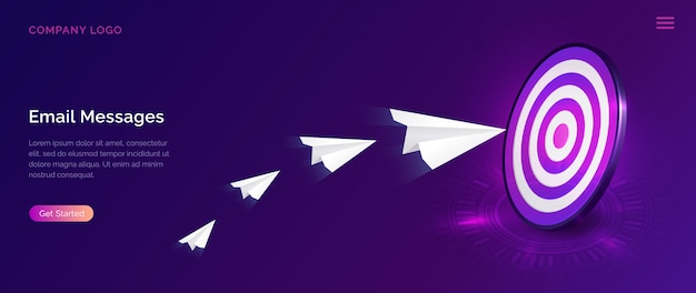 Pagina di destinazione del messaggio e-mail Vettore gratuito