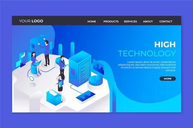 Pagina di destinazione del modello di concetto di tecnologia Vettore gratuito