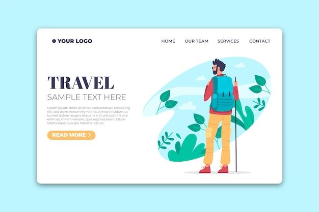 Pagina di destinazione del modello di design piatto di viaggio Vettore gratuito