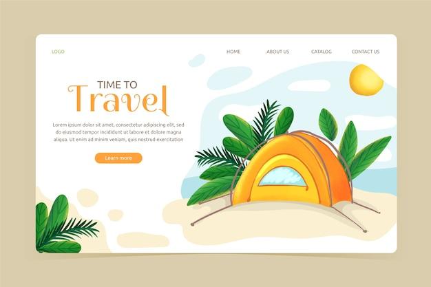 Pagina di destinazione del modello di viaggio design piatto Vettore gratuito