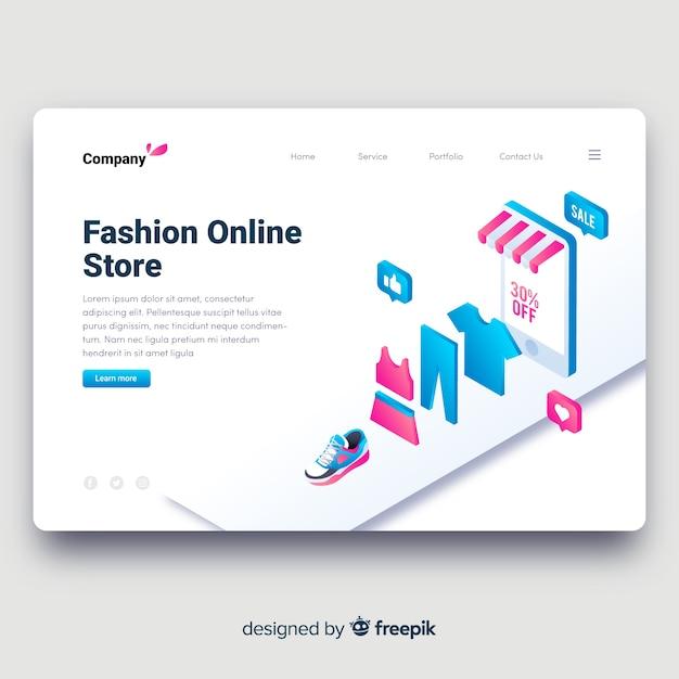 Pagina di destinazione del negozio di moda Vettore gratuito
