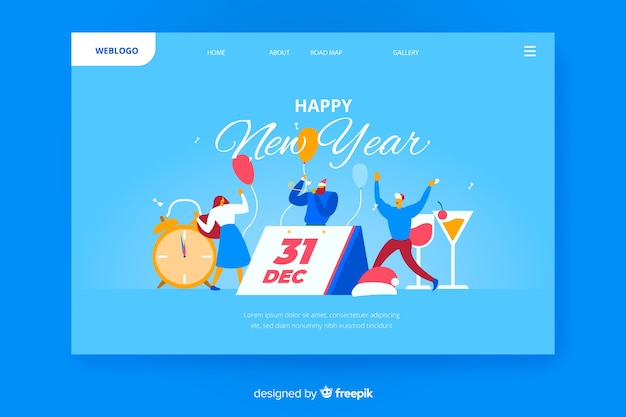 Pagina di destinazione del nuovo anno 2020 con persone e calendario Vettore gratuito