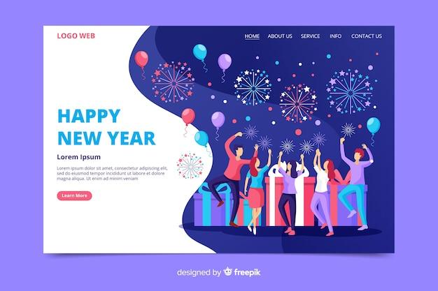 Pagina di destinazione del nuovo anno in design piatto Vettore gratuito