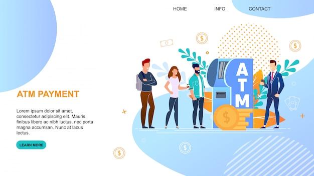 Pagina di destinazione del pagamento bancomat con iscrizione a banner piatto. Vettore Premium