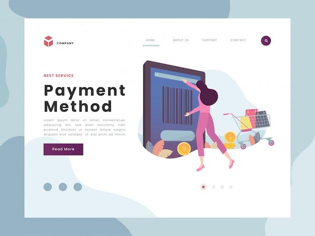 Pagina di destinazione del pagamento Vettore Premium