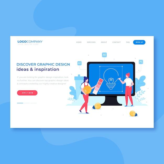 Pagina di destinazione del processo creativo dei grafici Vettore Premium