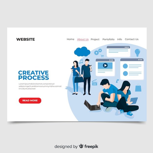 Pagina di destinazione del processo creativo Vettore gratuito