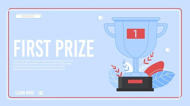 Pagina di destinazione del progetto di successo del primo premio in cornice Vettore Premium