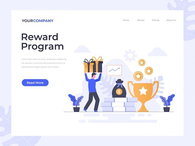 Pagina di destinazione del programma di ricompensa Vettore Premium