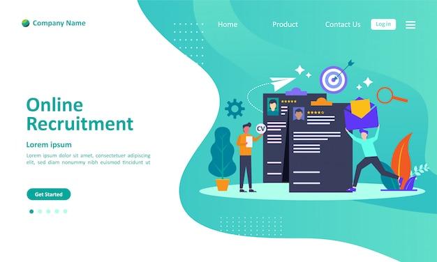 Pagina di destinazione del reclutamento o reclutamento online Vettore Premium