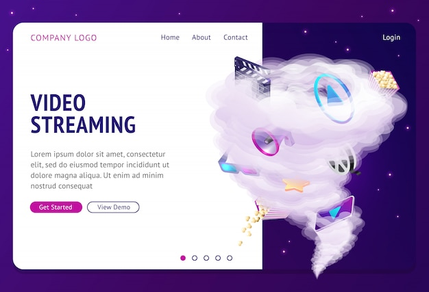 Pagina di destinazione del servizio di film su internet in streaming video Vettore gratuito