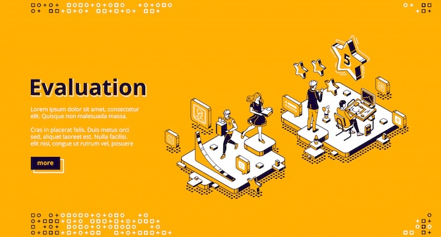 Pagina di destinazione del servizio di valutazione e valutazione Vettore gratuito