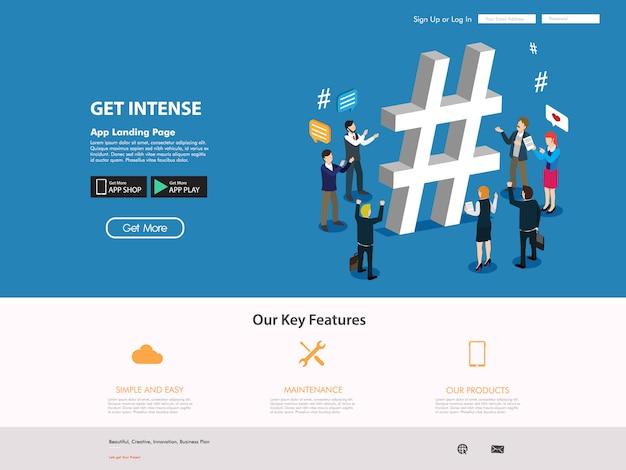 Pagina di destinazione del sito di social media Vettore Premium