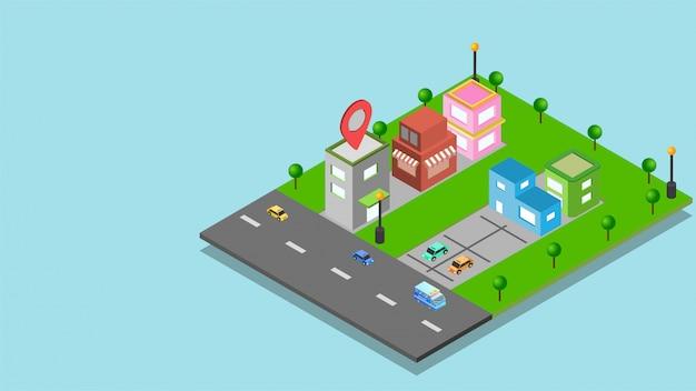 Pagina di destinazione del sito web con vista isometrica degli immobili. Vettore Premium