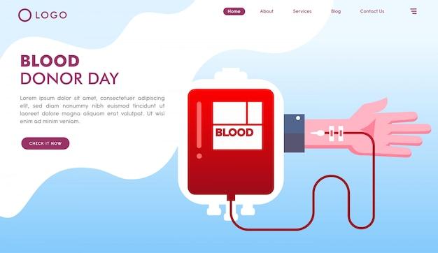 Pagina di destinazione del sito web del giorno dei donatori di sangue Vettore Premium