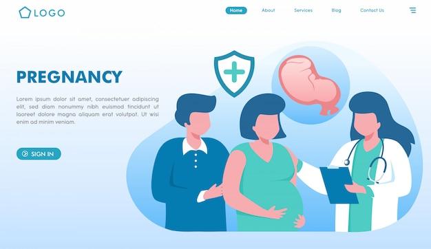 Pagina di destinazione del sito web della gravidanza Vettore Premium