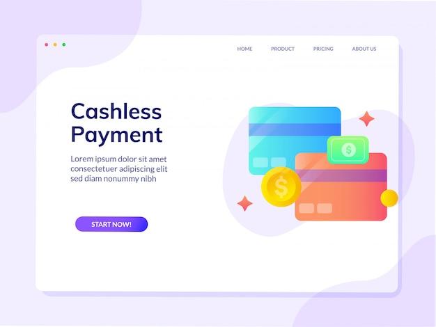 Pagina di destinazione del sito web di pagamento mobile senza contanti Vettore Premium