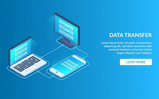 Pagina di destinazione del trasferimento dati Vettore Premium