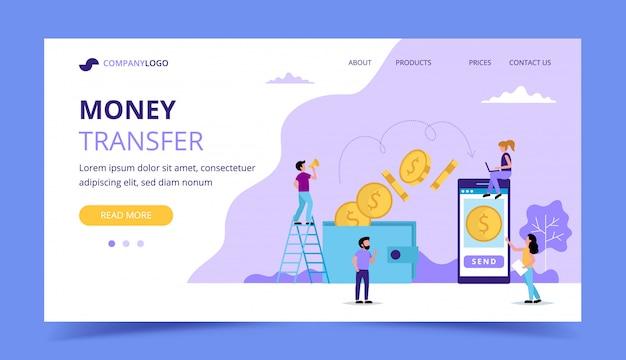 Pagina di destinazione del trasferimento di denaro, illustrazione di concetto per l'invio di denaro Vettore Premium