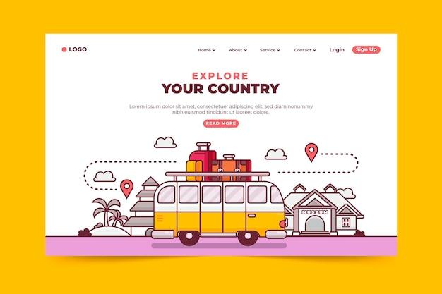 Pagina di destinazione del turismo locale Vettore gratuito
