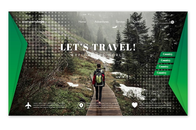 Pagina di destinazione del viaggio con foto Vettore gratuito