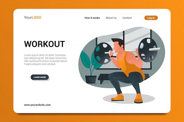 Pagina di destinazione dell'allenamento Vettore Premium