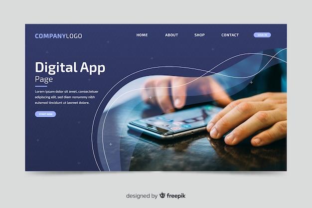 Pagina di destinazione dell'app digitale con foto Vettore gratuito