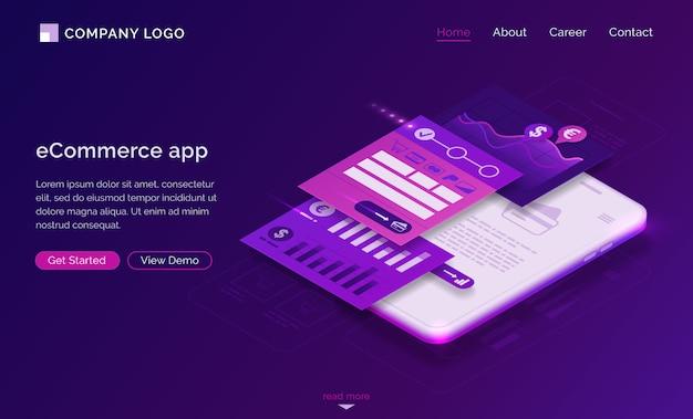 Pagina di destinazione dell'app ecommerce, pagamento mobile Vettore gratuito