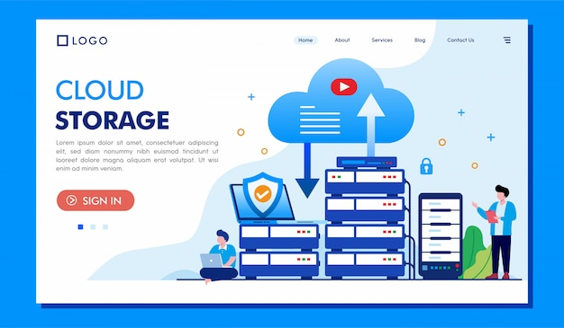 Pagina di destinazione dell'archiviazione cloud Vettore Premium