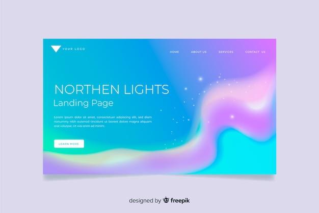 Pagina di destinazione dell'aurora boreale Vettore gratuito