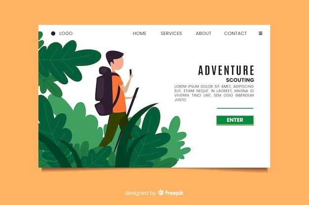 Pagina di destinazione dell'avventura di scouting Vettore gratuito