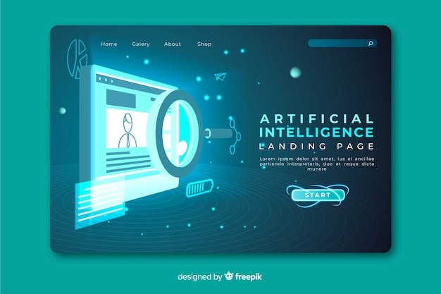 Pagina di destinazione dell'intelligenza artificiale Vettore gratuito