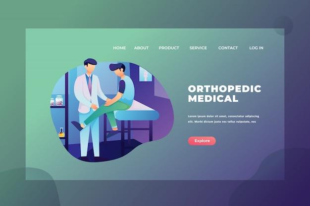 Pagina di destinazione dell'intestazione della pagina web della medicina e della medicina ortopedica Vettore Premium