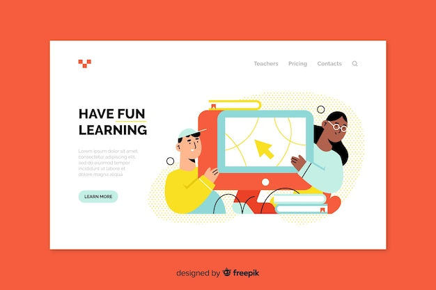 Pagina di destinazione dell'istruzione online Vettore gratuito