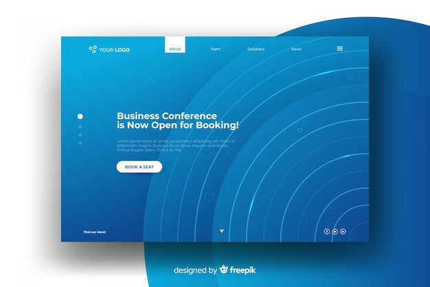Pagina di destinazione della conferenza Vettore gratuito