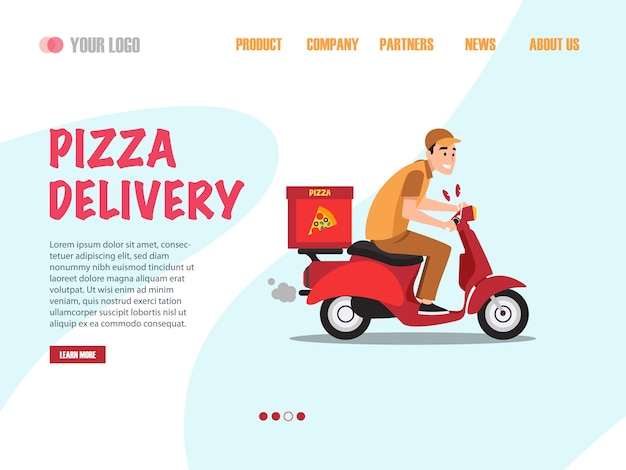 Pagina di destinazione della consegna della pizza Vettore Premium