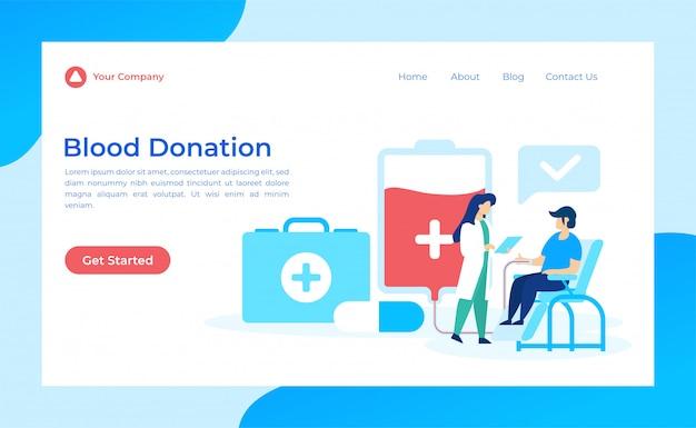 Pagina di destinazione della donazione di sangue Vettore Premium