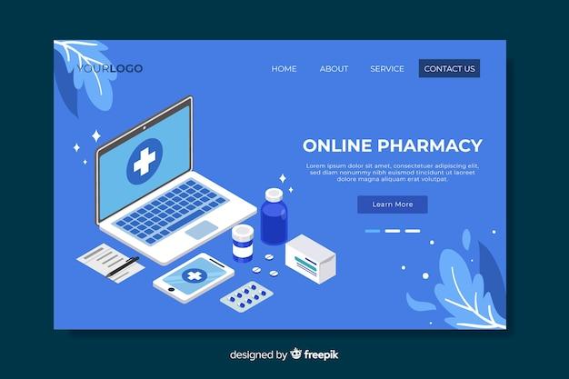 Pagina di destinazione della farmacia blu Vettore gratuito