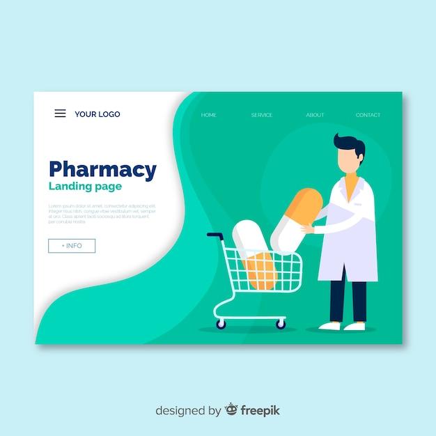 Pagina di destinazione della farmacia Vettore gratuito