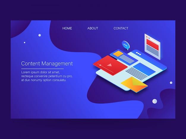 Pagina di destinazione della gestione dei contenuti Vettore Premium
