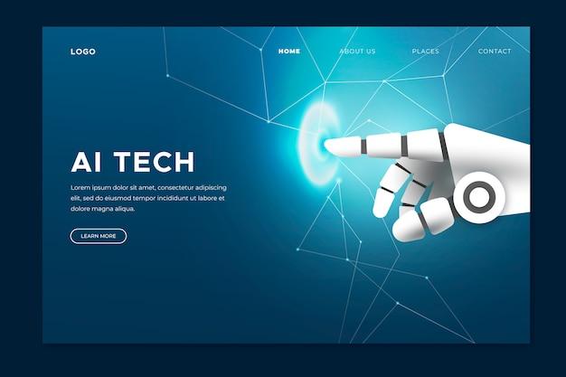 Pagina di destinazione della mano di intelligenza artificiale Vettore gratuito